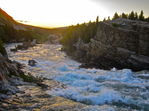 Glacier National Park river sunset